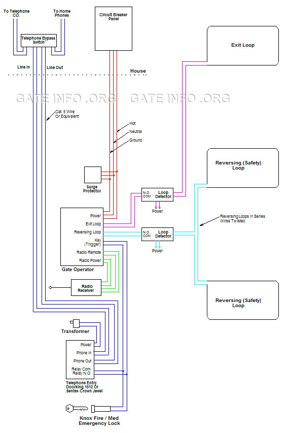 wiring diagram for driveway gate with telephone entry rh gateinfo org  telephone wiring diagram intercom system