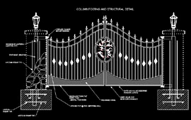 driveway gate diagrams, plans, photos, and information center Entrance Gate Diagram we are listed on abacus construction index